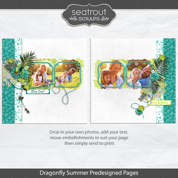 Dragonfly Summer Predesigned & Editable Pages Digital Art - Digital Scrapbooking Kits