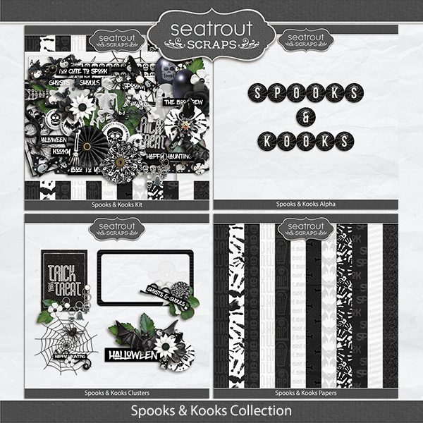 Spooks And Kooks Discounted Bundle Digital Art - Digital Scrapbooking Kits