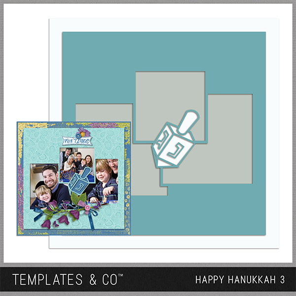 Happy Hanukkah Template 3 Digital Art - Digital Scrapbooking Kits