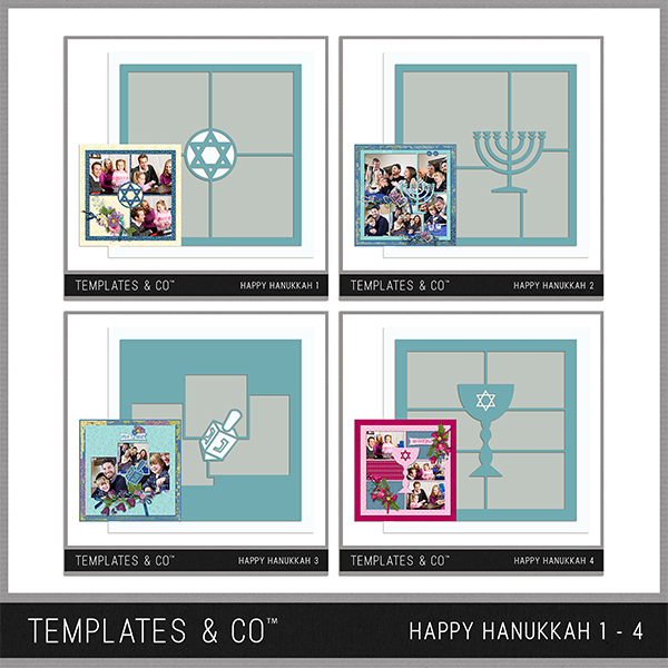 Happy Hanukkah Template Bundle 1 - 4 Digital Art - Digital Scrapbooking Kits