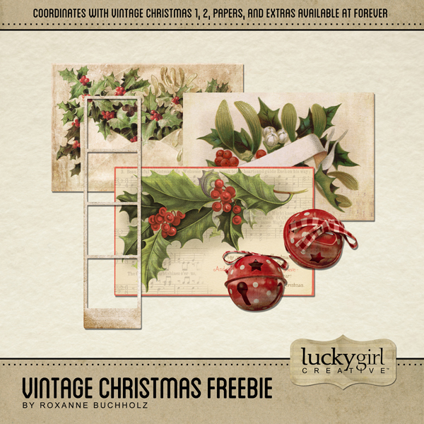 Vintage Christmas Freebie Digital Art - Digital Scrapbooking Kits