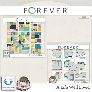A Life Well Lived Template Set Digital Art - Digital Scrapbooking Kits