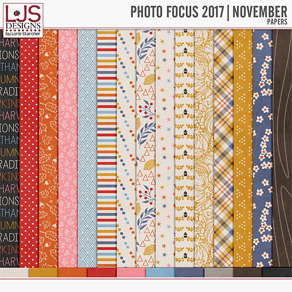 Photo Focus 2017 - November Papers Digital Art - Digital Scrapbooking Kits