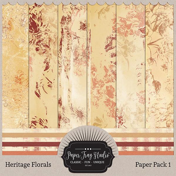 Heritage Florals - Set 1 Digital Art - Digital Scrapbooking Kits