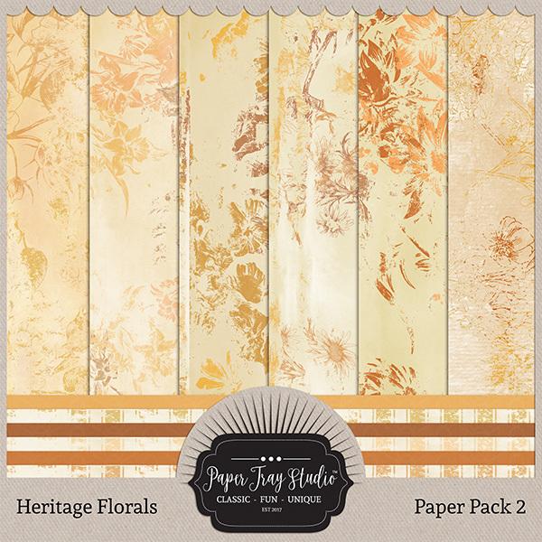 Heritage Florals - Set 2 Digital Art - Digital Scrapbooking Kits