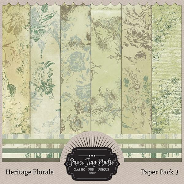 Heritage Florals - Set 3 Digital Art - Digital Scrapbooking Kits