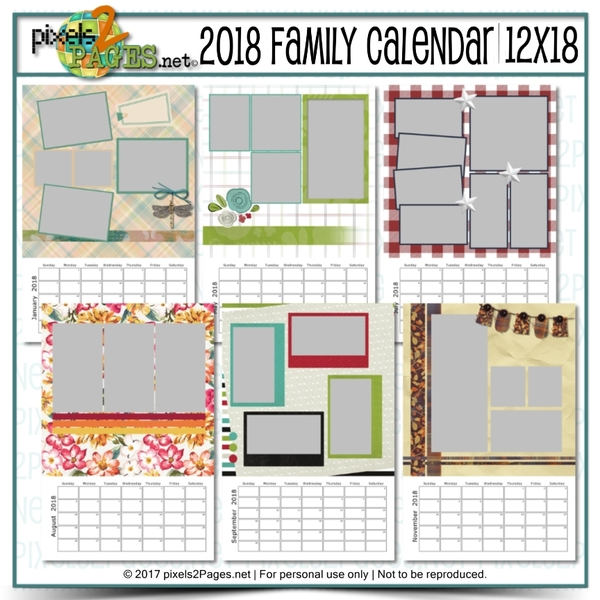 2018 Family Calendar 12x18 | Digital Art