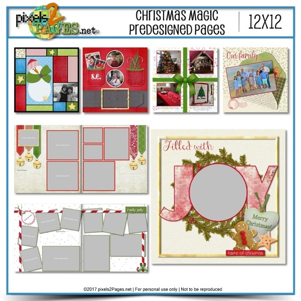 Christmas Magic Pre-designed Pages Digital Art - Digital Scrapbooking Kits