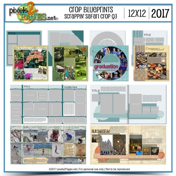 Crop Blueprints - Scrappin Safari Q3 2017 12x12 Digital Art - Digital Scrapbooking Kits