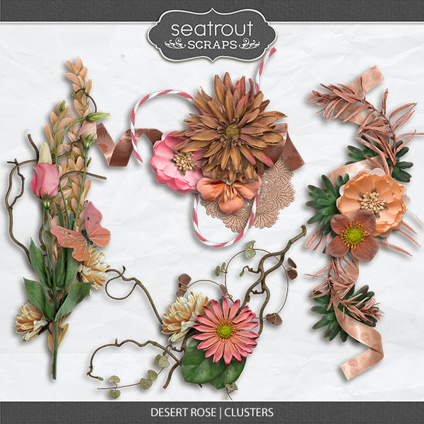 Desert Rose Clusters Digital Art - Digital Scrapbooking Kits