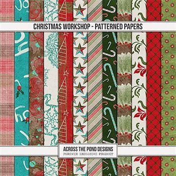 Christmas Workshop - Patterned Papers Digital Art - Digital Scrapbooking Kits