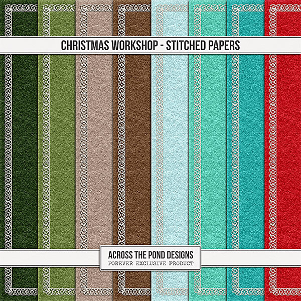 Christmas Workshop - Stitched Papers Digital Art - Digital Scrapbooking Kits