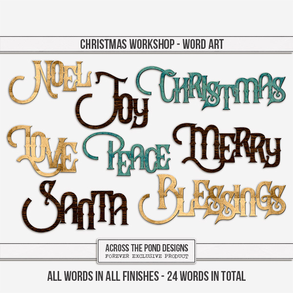 Christmas Workshop - Word Art Digital Art - Digital Scrapbooking Kits
