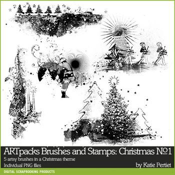 Artpacks Brushes And Stamps Christmas No. 01 Digital Art - Digital Scrapbooking Kits