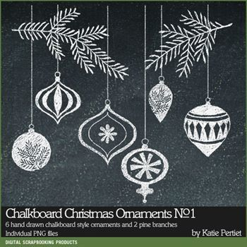 Chalkboard Christmas Ornaments Brushes And Stamps No. 01
