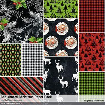 Chalkboard Christmas Paper Pack