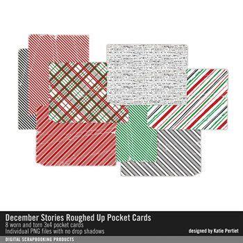 December Stories Roughed Up Pocket Cards Digital Art - Digital Scrapbooking Kits
