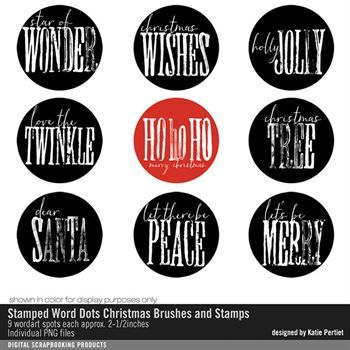 Stamped Word Dots Christmas Brushes And Stamps