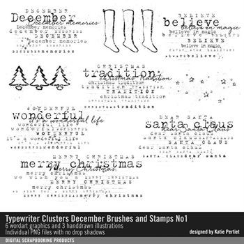 Typewriter Clusters December Brushes And Stamps No. 01