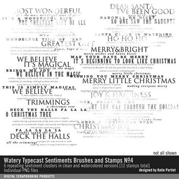 Watery Typecast Sentiments Brushes And Stamps No. 04