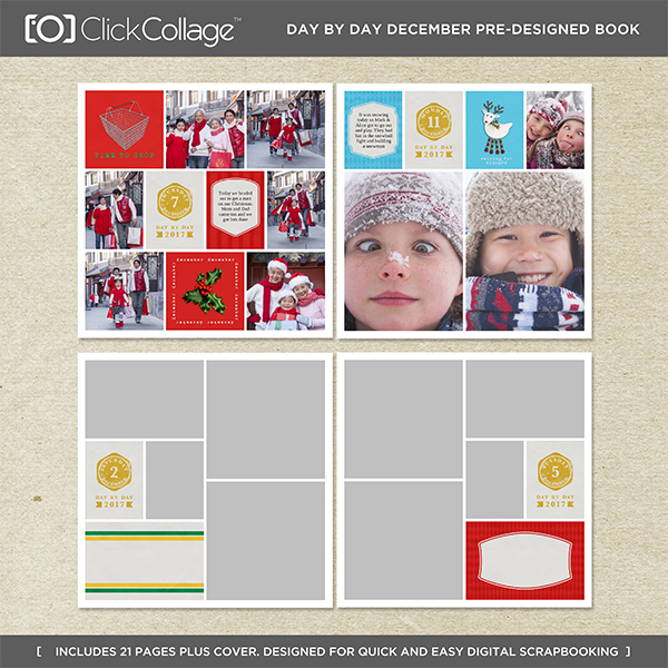 Day By Day December Pre-designed Book Digital Art - Digital Scrapbooking Kits
