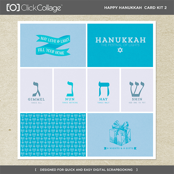 Happy Hanukkah Card Kit 2 Digital Art - Digital Scrapbooking Kits