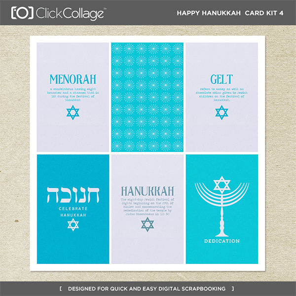 Happy Hanukkah Card Kit 4 Digital Art - Digital Scrapbooking Kits