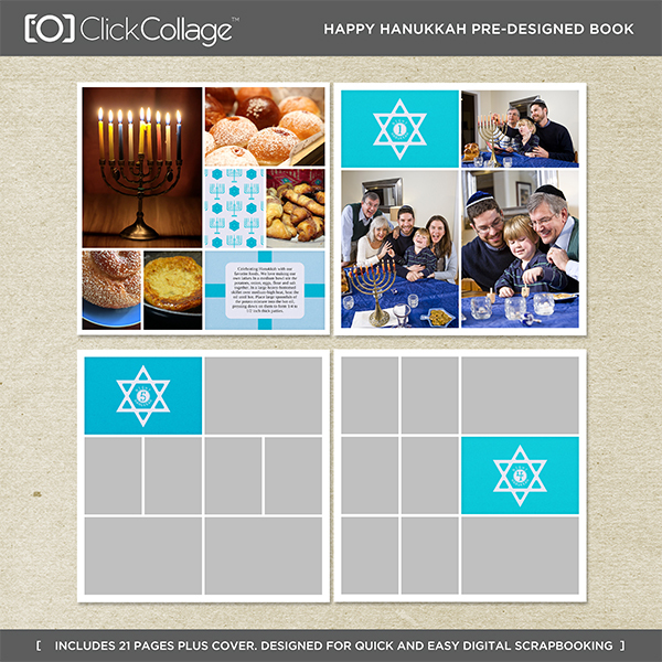 Happy Hanukkah Pre-designed Book Digital Art - Digital Scrapbooking Kits