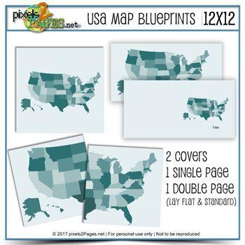 USA Map Blueprints (12x12) Digital Art - Digital Scrapbooking Kits
