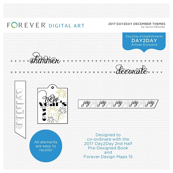 2017 Day2day December Themes Digital Art - Digital Scrapbooking Kits