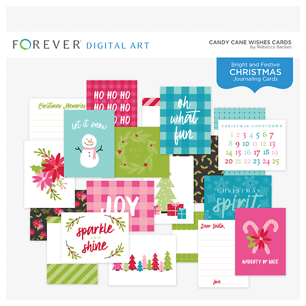 Candy Cane Wishes Cards Digital Art - Digital Scrapbooking Kits