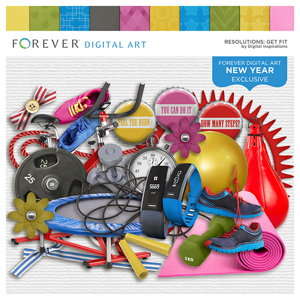 Resolutions - Get Fit Digital Art - Digital Scrapbooking Kits