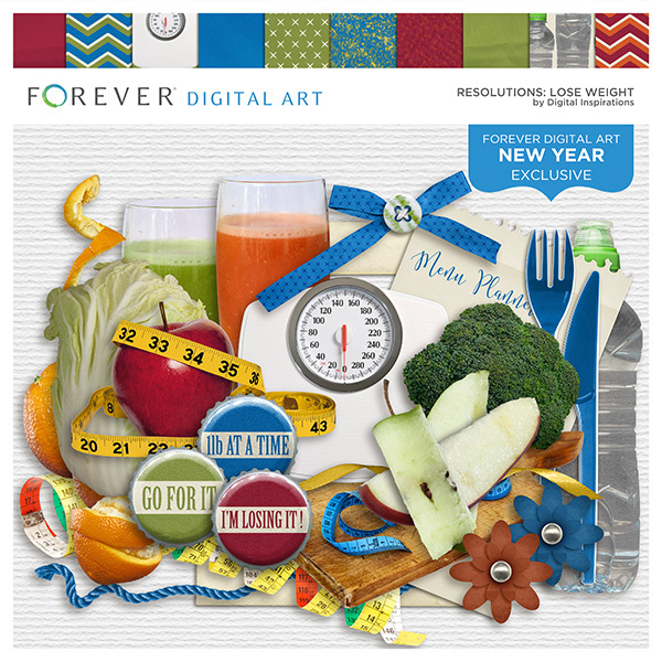 Resolutions - Lose Weight Digital Art - Digital Scrapbooking Kits