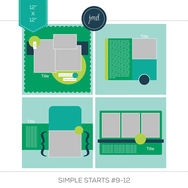 Simple Starts #9-12 (12x12) Digital Art - Digital Scrapbooking Kits