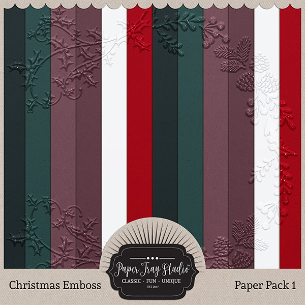 Embossed Frame Christmas Papers - Paper Pack 1