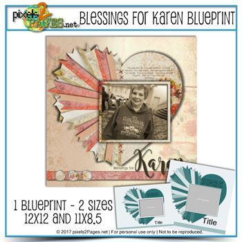 Blessings For Karen Blueprint (12x12 & 11x8.5) Nov2017 Pages Magazine Freebie Digital Art - Digital Scrapbooking Kits