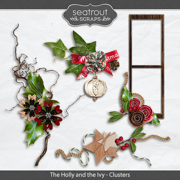 The Holly And The Ivy Clusters Digital Art - Digital Scrapbooking Kits