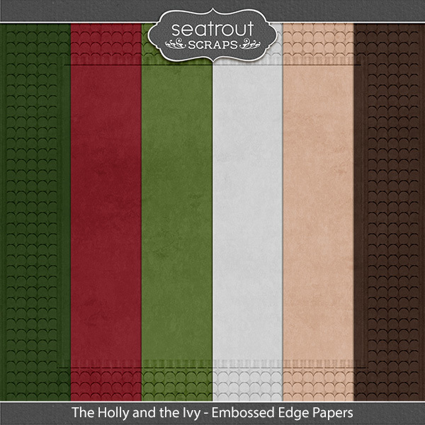 The Holly And The Ivy Embossed Edge Papers Digital Art - Digital Scrapbooking Kits