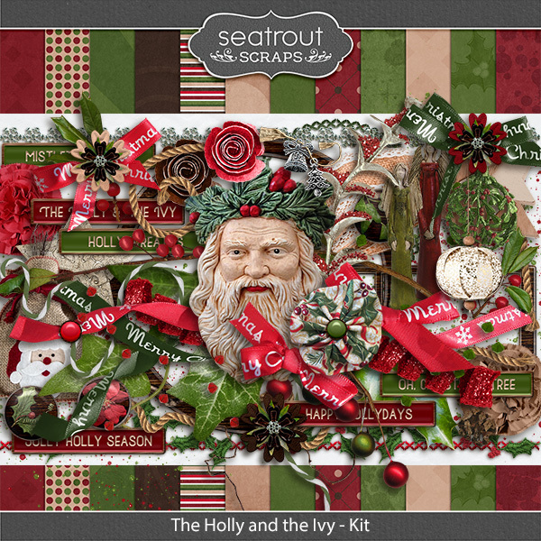 The Holly And The Ivy Kit Digital Art - Digital Scrapbooking Kits