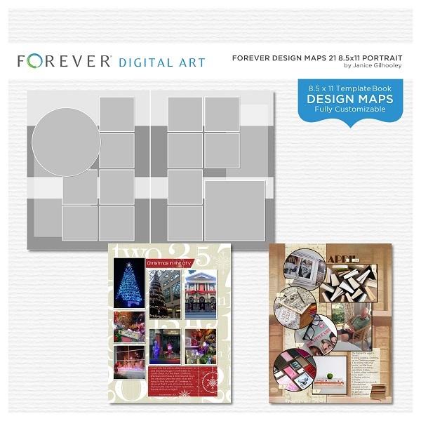Forever Design Maps 21 8.5x11 Portrait Digital Art - Digital Scrapbooking Kits