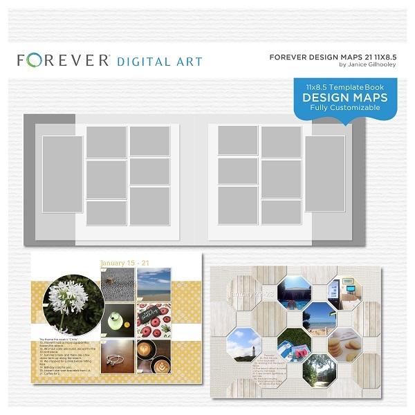 Forever Design Maps 21 11x8.5 Digital Art - Digital Scrapbooking Kits