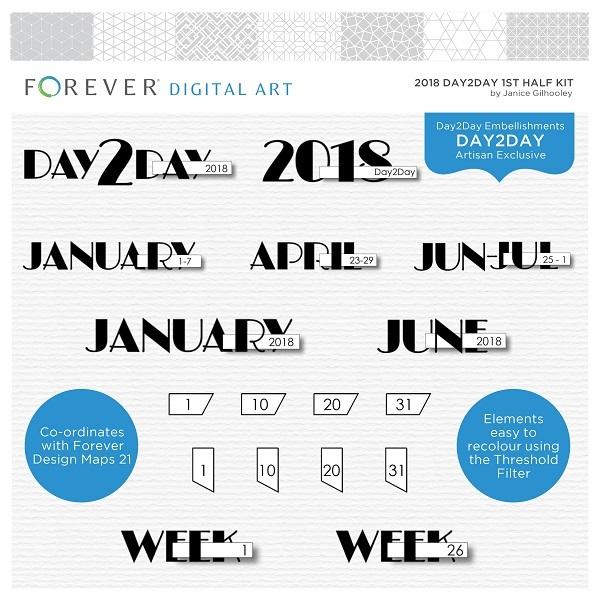 2018 Day2Day 1st Half Kit Digital Art - Digital Scrapbooking Kits