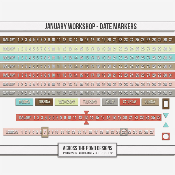 January Workshop - Date Markers Digital Art - Digital Scrapbooking Kits