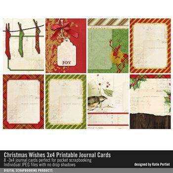 Christmas Wishes 3x4 Printable Journal Cards Digital Art - Digital Scrapbooking Kits