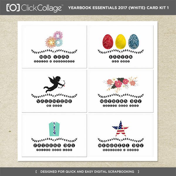 Yearbook Essentials 2017 (white) Card Kit 1 Digital Art - Digital Scrapbooking Kits