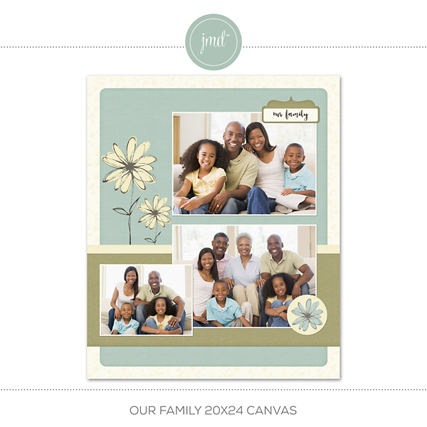Our Family 20x24 Canvas Digital Art - Digital Scrapbooking Kits