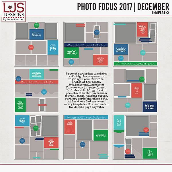 Photo Focus 2017 - December Templates Digital Art - Digital Scrapbooking Kits