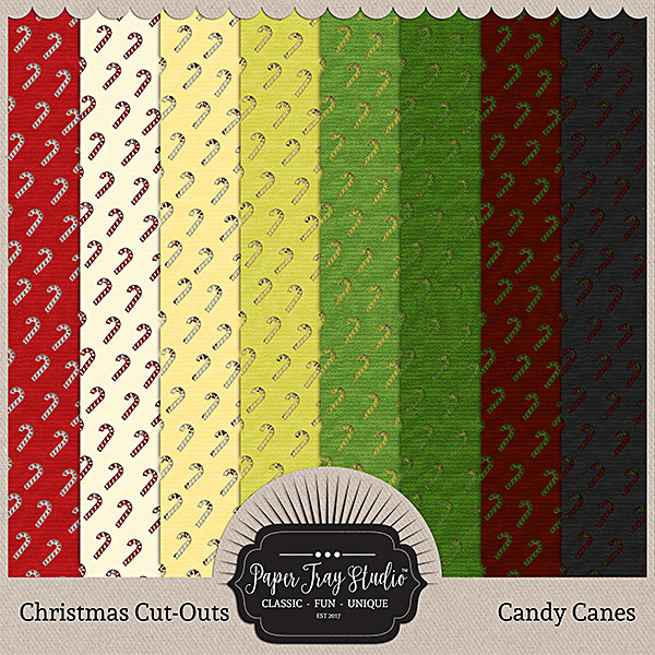 Christmas Cut-outs - Candy Cane Digital Art - Digital Scrapbooking Kits