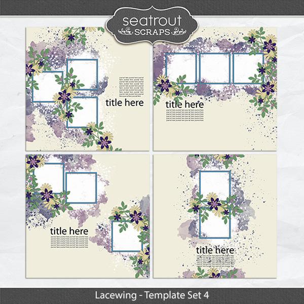 Lacewing Template Set 4 Digital Art - Digital Scrapbooking Kits