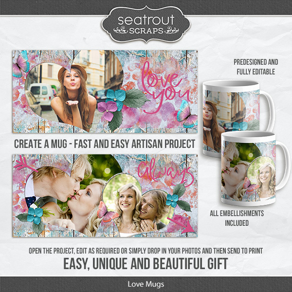 Love Mugs Digital Art - Digital Scrapbooking Kits
